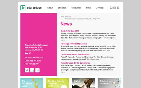 Screenshot of Press Page johnroberts.com - News - The John Roberts Company - captured Oct. 7, 2014