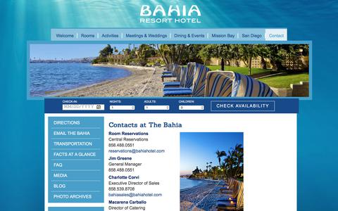 Screenshot of Contact Page bahiahotel.com - Contact | Bahia Resort Hotel - captured June 22, 2017