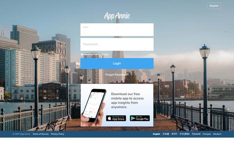 Screenshot of Support Page appannie.com - Login - App Annie - captured Dec. 10, 2017