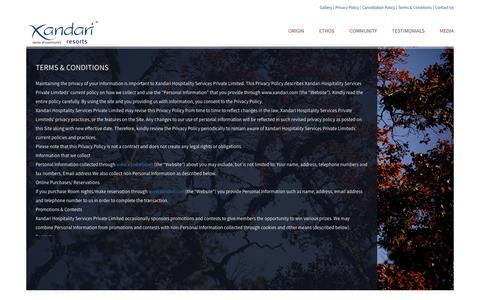 Screenshot of Terms Page xandari.com - Xandari Resorts   Terms & Conditions - captured June 12, 2017