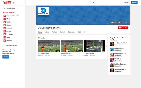 Screenshot of YouTube Page youtube.com - BigLook360's channel  - YouTube - captured Oct. 23, 2014