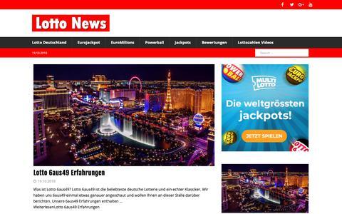 Screenshot of Home Page lotto-news.de - Lottozahlen und Nachrichten - Lotto News - captured Oct. 19, 2018