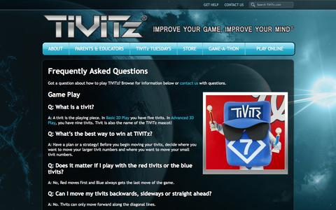 Screenshot of FAQ Page tivitz.com - Frequently Asked Questions - TiViTz Math Game - captured Oct. 1, 2014