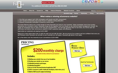 Screenshot of Pricing Page flexoweb.com - Flexoweb ecommerce website builder and shopping cart system pricing - captured March 5, 2016