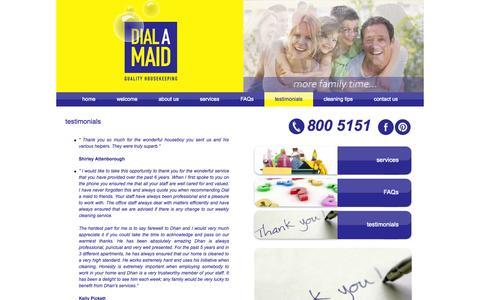 Screenshot of Testimonials Page dialamaid.ae - Client testimonials - Dialamaid.ae - captured Sept. 30, 2014