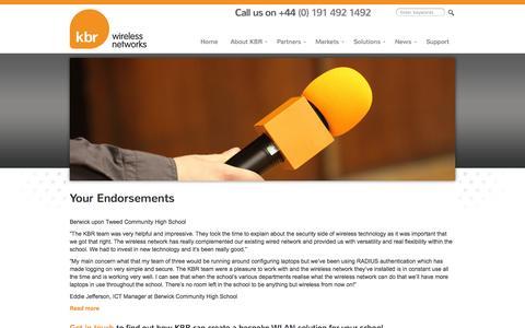 Screenshot of Testimonials Page kbr.co.uk - Your Endorsements - KBR Wireless Networks - captured Oct. 6, 2014