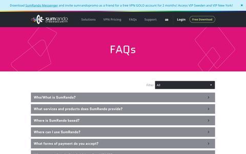 Screenshot of FAQ Page sumrando.com - SumRando FAQs - Under the Radar and Totally Secure - captured Nov. 23, 2015