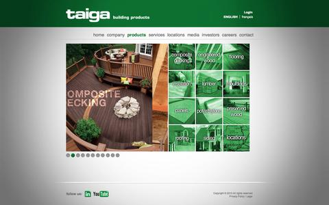 Screenshot of Products Page taigabuilding.com - products | taiga - captured Oct. 26, 2014