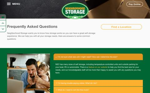 Screenshot of FAQ Page neighborhoodstorage.com - Frequently Asked Questions at Neighborhood Storage - captured Oct. 18, 2018
