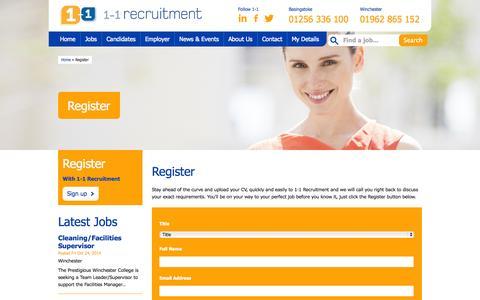 Screenshot of Signup Page 1-1recruitment.co.uk - Register · 1-1 Recruitment - captured Oct. 27, 2014