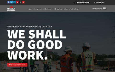 Screenshot of Home Page bakerroofing.com - The Nation's Top Roofing Contractor | Baker Roofing Company Since 1915 - captured June 30, 2019