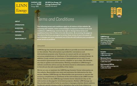 Screenshot of Terms Page linnenergy.com - LINN Energy, LLC   Terms and Conditions    NASDAQ: LINE   Energy, Natural Gas, Oil, Operations - captured Jan. 18, 2016