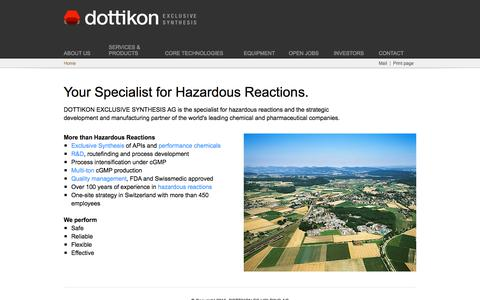 Screenshot of Home Page dottikon.com - Dottikon Exclusive Synthesis - captured Sept. 20, 2015