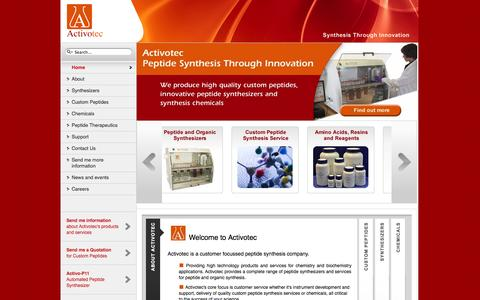 Screenshot of Home Page activotec.com - Peptide Synthesis, Peptide Synthesizers and Custom Synthesis from Activotec - captured Oct. 4, 2014