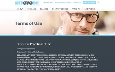 Screenshot of Terms Page myeyedr.com - Terms of Use | MyEyeDr - captured Oct. 28, 2017