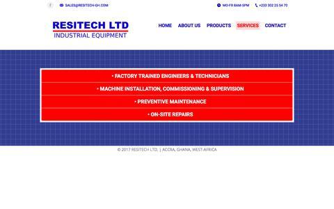 Screenshot of Services Page resitech-gh.com - SERVICES | RESITECH LTD. - captured Oct. 22, 2017