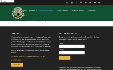 Screenshot of FAQ Page gnbvt.edu - F.A.Q.   Greater New Bedford Regional Vocational Technical High School - captured Nov. 11, 2018