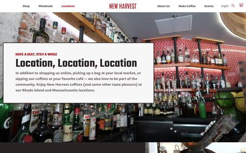 Screenshot of Locations Page newharvestcoffee.com - Locations – New Harvest Coffee Roasters - captured Oct. 20, 2018