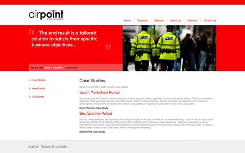 Screenshot of Case Studies Page airpoint.net - Case Studies - captured Oct. 4, 2014