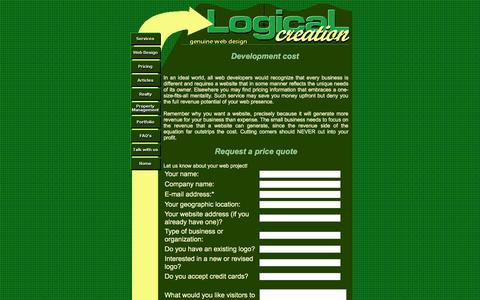 Screenshot of Pricing Page logicalcreation.com - Logical Creation -- web design, development and optimization - captured Jan. 3, 2017