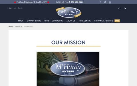 Screenshot of About Page mchardyvac.com - Mission | McHardy Vacuum - Canada's Online Vacuum Store - captured Oct. 18, 2017