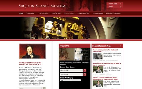 Screenshot of Home Page Site Map Page soane.org - Soane Museum, London - Sir John Soane, R.A., Architect - captured Oct. 4, 2014