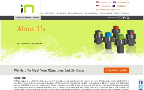 Screenshot of About Page technologiesin.com - About Us – iN Technologies Software Development Service Provider - captured Oct. 6, 2014