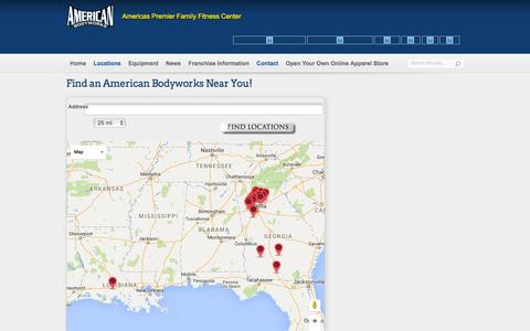 Screenshot of Contact Page Locations Page americanbodyworks.com - American Bodyworks | American Body Works Fitness Center Location Finder - Fitness Center Locator - captured March 26, 2016