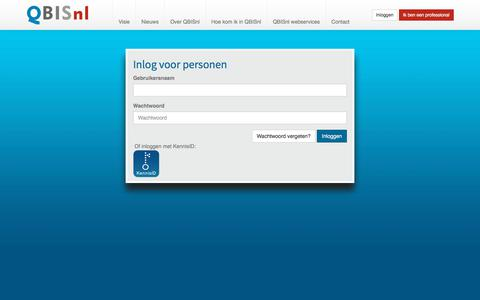 Screenshot of Login Page qbis.nl - QBISnl - inloggen - captured Feb. 2, 2018