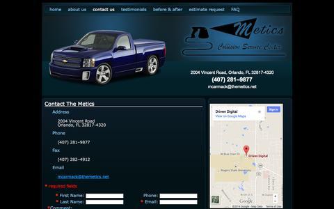 Screenshot of Contact Page themetics.net - Auto Body Repair Shop | Orlando, FL | The Metics | Contact Us - captured Oct. 8, 2014