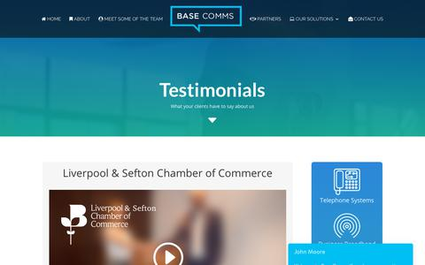 Screenshot of Testimonials Page base-communications.co.uk - Video Testomonials - Communications products & Support - Base Comms - captured Oct. 5, 2018