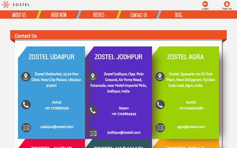 Screenshot of Contact Page zostel.com - Contact Us | Zostel - captured Oct. 31, 2014