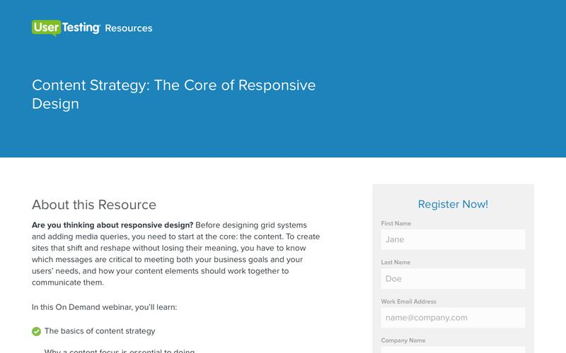 Content Strategy: The Core of Responsive Design | UserTesting.com