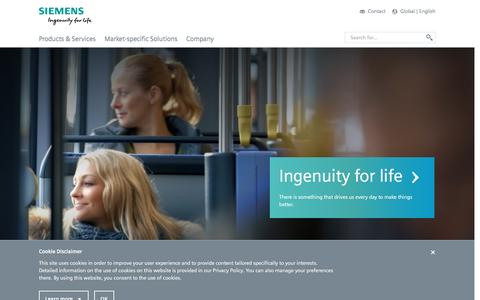 Screenshot of Products Page siemens.com - Home - English - Siemens Global Website - captured June 8, 2016