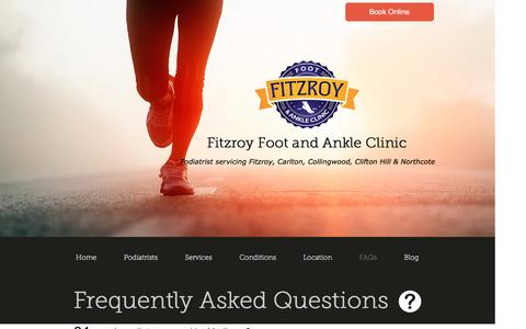 Screenshot of FAQ Page fitzpod.com - FAQs | Fitzroy Foot and Ankle Clinic - captured Nov. 25, 2016