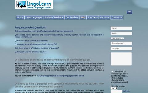 Screenshot of FAQ Page lingolearn.com - FAQ - captured July 15, 2016