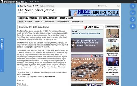 Screenshot of About Page north-africa.com - The North Africa Journal |   Introducing The North Africa Journal - captured Oct. 14, 2017