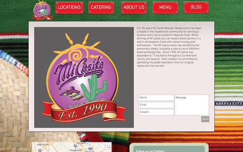 Screenshot of About Page micasitarestaurants.com - Contact Mi Casita - captured July 2, 2018
