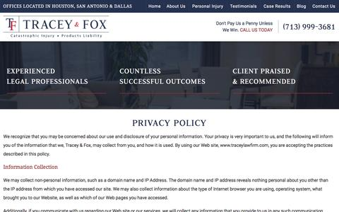 Screenshot of Privacy Page traceylawfirm.com - Privacy Policy | Houston Personal Injury Lawyer - captured Feb. 22, 2016
