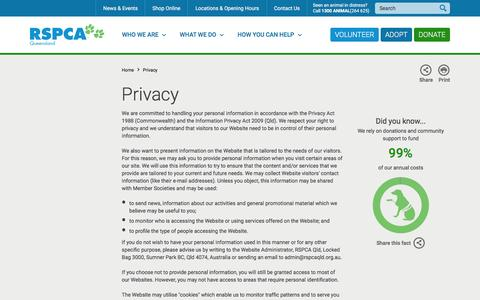 Screenshot of Privacy Page rspcaqld.org.au - RSPCA Queensland | Privacy - captured Feb. 15, 2016