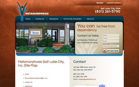 Screenshot of Site Map Page breakaddiction-saltlakecity.com - Metamorphosis Salt Lake City, Inc. Site Map - captured Oct. 27, 2014