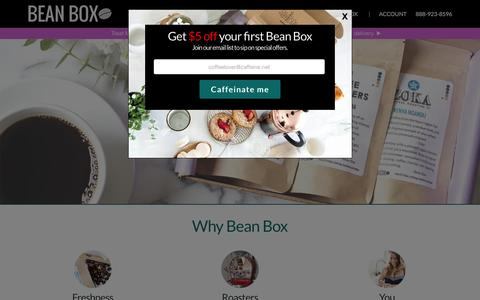 Screenshot of Home Page beanbox.co - Gourmet Coffee Subscriptions and Gifts | Bean Box - captured April 14, 2016