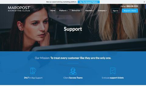 Screenshot of Support Page maropost.com - Enterprise Marketing Platform Service Overview | Maropost - captured May 13, 2016