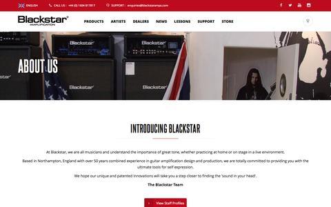 Screenshot of About Page blackstaramps.com - About Us  | Blackstar Amplification - captured Oct. 25, 2016
