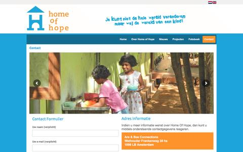 Screenshot of Contact Page homeofhope.nl - Contact - Home of hope - captured Nov. 11, 2016