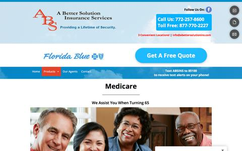 Screenshot of Products Page abettersolutioninsurance.com - Dental Insurance - Fort Pierce, FL - A Better Solution Insurance Services - captured Sept. 26, 2018