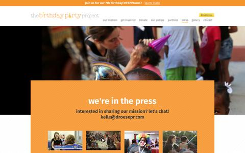 Screenshot of Press Page thebirthdaypartyproject.org - Press - The Birthday Party Project - captured Oct. 21, 2018