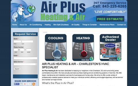 Screenshot of Home Page airplusllc.com - Air Plus Heating & Air | Charleston, SC - captured Sept. 10, 2015