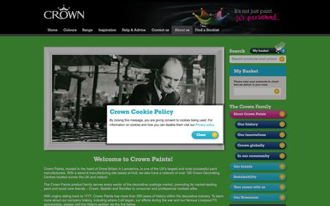 Screenshot of About Page crownpaints.co.uk - About Crown Paints   Crown Paint - captured Oct. 27, 2014