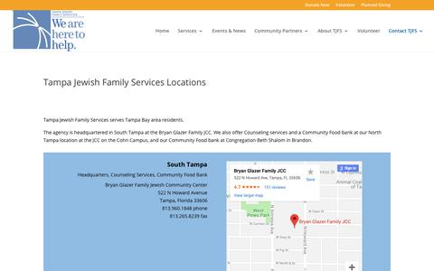 Screenshot of Locations Page tjfs.org - Tampa Jewish Family Services Locations | Tampa Jewish Family Services - captured Oct. 20, 2018